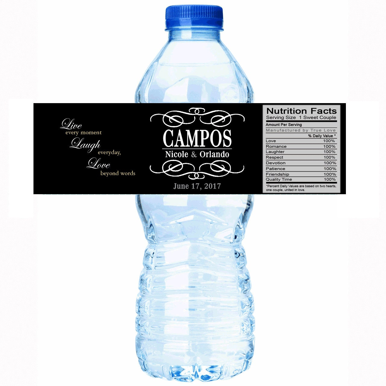 Water Bottle Name Tags: 20 Last Name Wedding Last Name Water Bottle Labels Select
