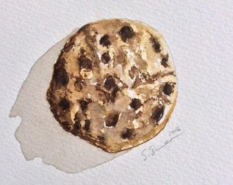 Cookie Print in watercolour, Food Art, Food Illustration,