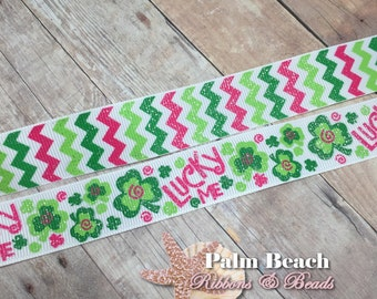 "1/3/5 yd cut of 7/8"" St. Patrick's Day Lucky Me Shamrock Clover Glitter Chevron Zig Zag Wave Pink and Green Ribbon"