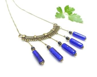 Necklace Cleopatra () (-mi long necklace pearls blue cobalt.) Antique necklace.