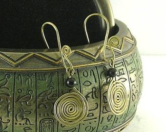 Sacred Spiral Earrings - Obsidian Bead - Celtic - Egyptian - Byzantine