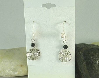Small Sacred Spiral Earrings - Obsidian Bead - Celtic - Egyptian - Byzantine