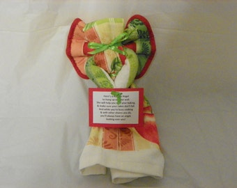 Striped Apple Themed Kitchen Towel Angel Wall Hanging