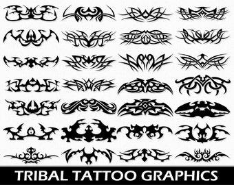 Tribal Tattoo Clip Art Graphics Tattoo Clipart Scrapbook Digital Download Transparent PNG Printable Vector Commercial Use