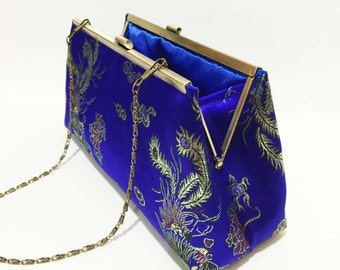 "Clutch|Dragon Blue Clutch| Bridesmaid Clutch| Blue Clutch with 24"" chain"