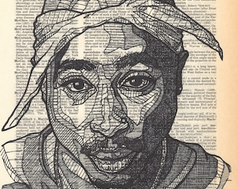 Tupac Shakur Portrait on a Dictionary Page with the term Machiavelli