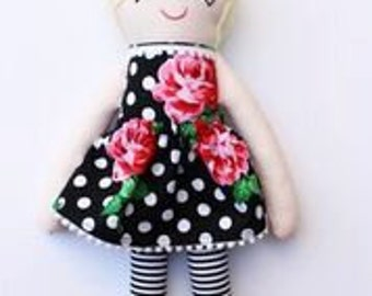 Blonde Top Knot Doll with Black and Floral Dress