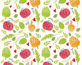 Colorful pattern with green, yellow, red VEGETABLES. KITCHEN PRINTS. Fine art print. Nice prints for Kids room or diner room .