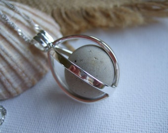 Sea glass marble necklace with clay marble in silver plated pendant, openable cage locket with clay sea marble, sea marble necklace, purist