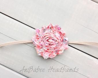 Baby flower headband, shabby flower headband, floral print headband, flower headband, baby headband, infant headband, headband