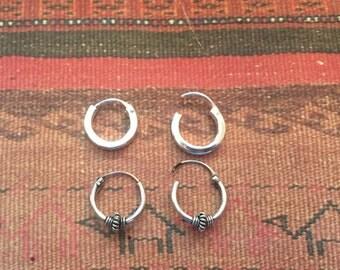 Sterling Silver Earrings...Sterling Silver Hoops...Handmade Vintage Earrings...Ethnic...Hippy...Gypsy...LV96