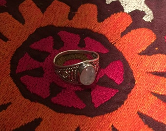 Vintage Moonstone Ring Sterling Silver,Handmade Vintage Ring-Ethnic-Hippy-Gypsy