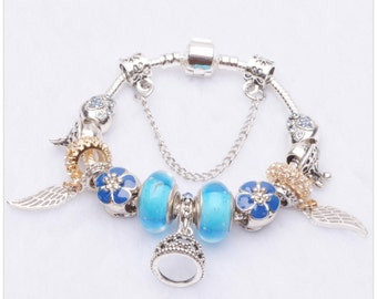 Pandora Bracelet - Authentic Pandora Charms Bracelet With European Charms, blue Murano, Angelic wings , 18k gold plated 2016