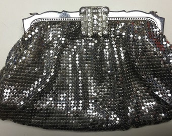 Whiting and Davis clutch with rhinestone latch