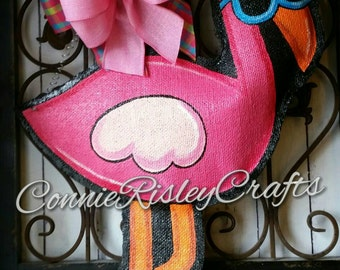 Pink Flamingo Burlap Door Hanger Decoration and Wreath Replacement