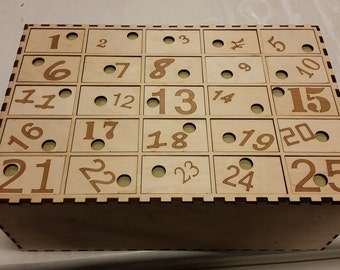 Custom laser cut countdown calendar box