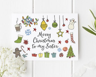 Sister Christmas Card Pretty Christmas Card For Sister Of All Ages - Cute Design And Festive Graphics