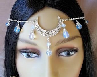 Silver Opalite Moon Circlet, Moon Headpiece, Headdress, Moon Goddess, Pagan, Wiccan, Wicca, Festival, Handfasting, Head Jewellery, Wedding