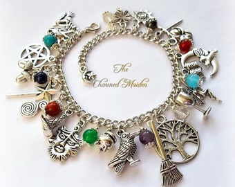 Pagan Charm & Element Stones Bracelet, Wiccan Charm Bracelet, Wicca Charm Bracelet, Pagan Jewellery, Spirit, Air, Water, Fire, Earth
