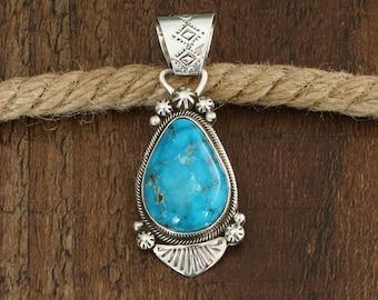 Native American Jewelry,Navajo,Sterling,turquoise,Navajo Silver,Navajo Jewelry,turquoise jewelry,Native American, Navajo Turquoise Pendant,