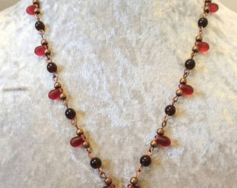 Beautiful Valentine Czech Glass beaded necklace with heart pendant