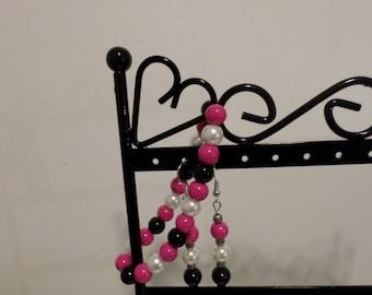 Earrings - magenta and black earrings
