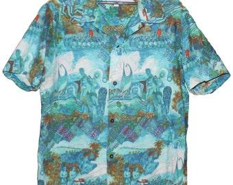 Vintage 60's Duke Kahanamoku Catalina Native Hawaiian Life Shirt Matching Pocket