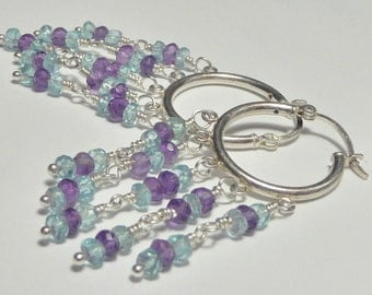 Amethyst and Aquamarine Sterling Hoop Chandelier Earrings
