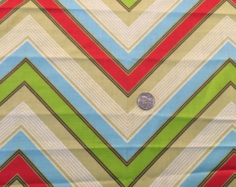 Zig Zag Blue, green, tan,red  quilting weight fabric