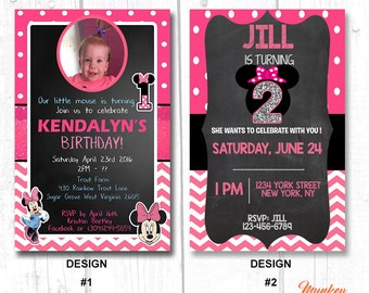 FIRST BIRTHDAY invitation MINNIE mouse, 1st Birthday Invitation Minnie Mouse, first birthday girl invitation, 1st birthday party invitation