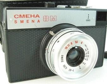 Vintage Soviet SMENA 8M Lomography Lomo Compact 35mm Camera with Original Black Case - made in USSR.