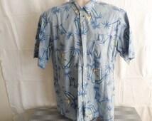 Polo Ralph Lauren Vintage Large L Blue Sailing Sailboat Palm Trees Short Sleeve Button Front Cotton Hawaiian Shirt