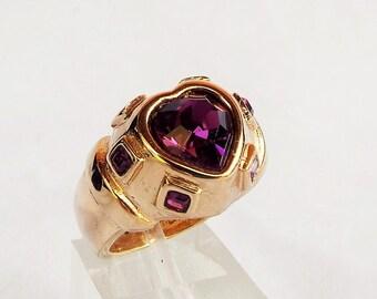 Vintage 18K GE Amethyst Rhinestone Heart Ring