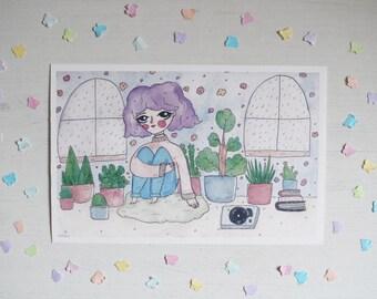 Sad Plant Girl - giclee print