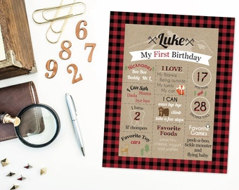 Woodland Lumberjack First Birthday Poster- First Year Facts and Milestones- Party Decoration- Kraft Paper- Buffalo Plaid- Fox- Digital File