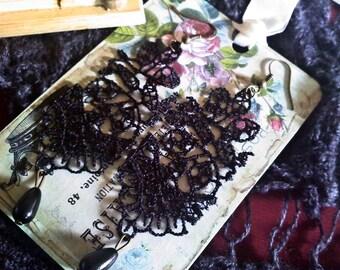 Lacy Leaves Black Crochet Earrings