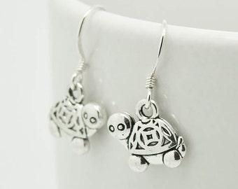 Turtle Earrings, Silver Earrings, Turtle Jewelry, Charm Earrings, Bridesmaid Gift, Gift for Her, Animal, Dangle Earrings, Antique Silver