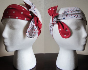 Reversible 4th of July Headband / Headscarf