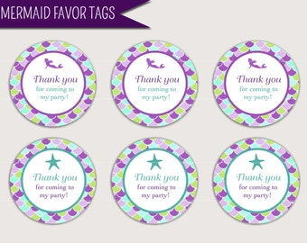 """Mermaid Favor Tag Printable Digital Download: """"MERMAID FAVOR"""" tags with purple, aqua, green mermaids, starfish, scale designs for treat tags"""