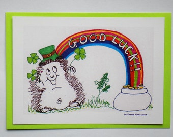 An original 'Good Luck!' greetings postcard. A great way to wish anyone of any age 'Good Luck!; in a job, interview, exam, driving test etc!
