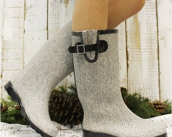 HERRINGBONE rubber rain boot wellies, rubber boots, women, rain wear, mucks, ladies, teen, weather, | RB6