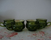 4 Lot Vintage 70's King's Crown THUMBPRINT Indiana Glass Olive Avacado Spring GREEN Gothic CUPS Retro Mug Mid Century Mix n Match Serveware