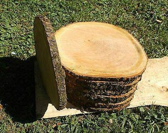 "12 Pc 12""- 14"" Cherry Log Slices Wood Disk Rustic Wedding Centerpiece Coaster"