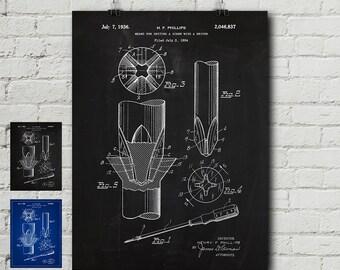 Phillips Screwdriver 1934 Patent Print - Craft, Crafts, Tools, Tool belt, Craftsman, Vintage, Blueprint, Wall Decor, Wall art, Cool Gift!