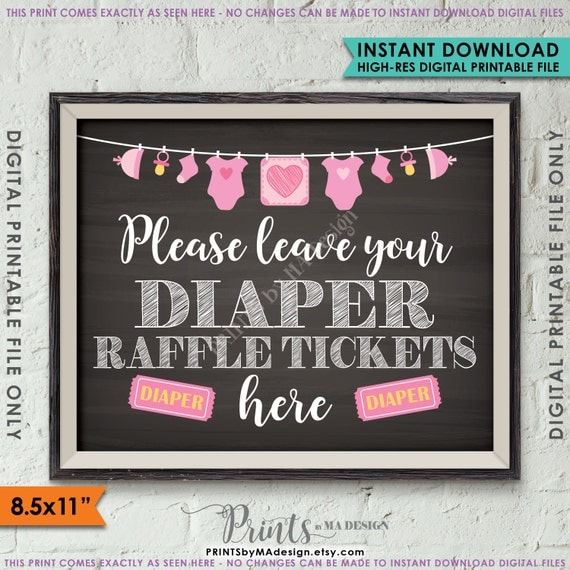 diaper raffle ticket sign leave your raffle ticket here