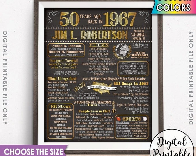 1967 50th Birthday Gift Poster Sign, Flashback 50 Years Ago USA Born in 1967 Birth 50th B-day Gift Chalkboard Style Digital Printable File