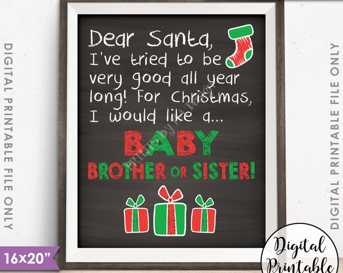"Pregnancy Announcement Christmas Wish List for Baby Brother or Sister Photo Prop, PRINTABLE 8x10/16x20"" Chalkboard Style Instant Download"