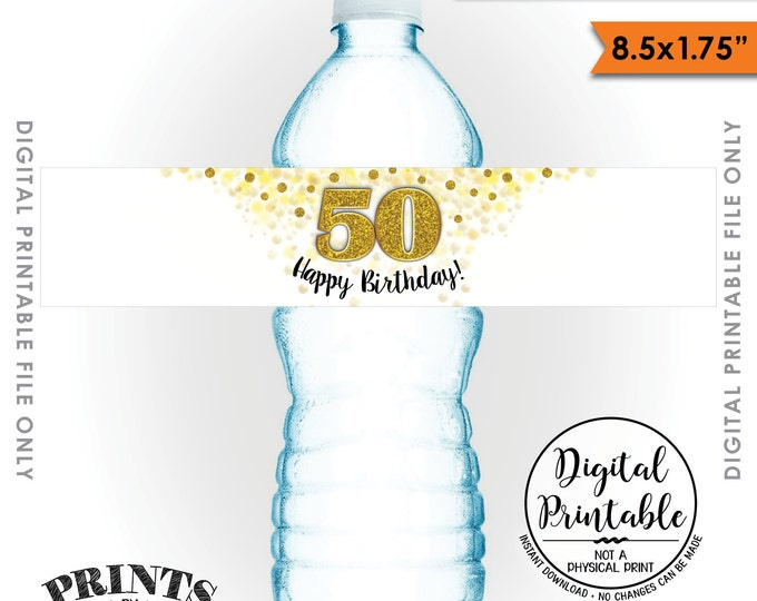 """Water Bottle Labels, Printable 50th Birthday Party Decoration, Five 8.5x1.75"""" labels per 8.5x11"""" Sheet Instant Download Printable File"""