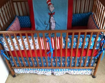 Cat in the hat baby bedding, blue and red baby bedding