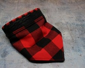 Handmade Dog Or Cat Snap On Bandana Red Black Buffalo Plaid Bison Leather Trim Print - 3 Sizes!